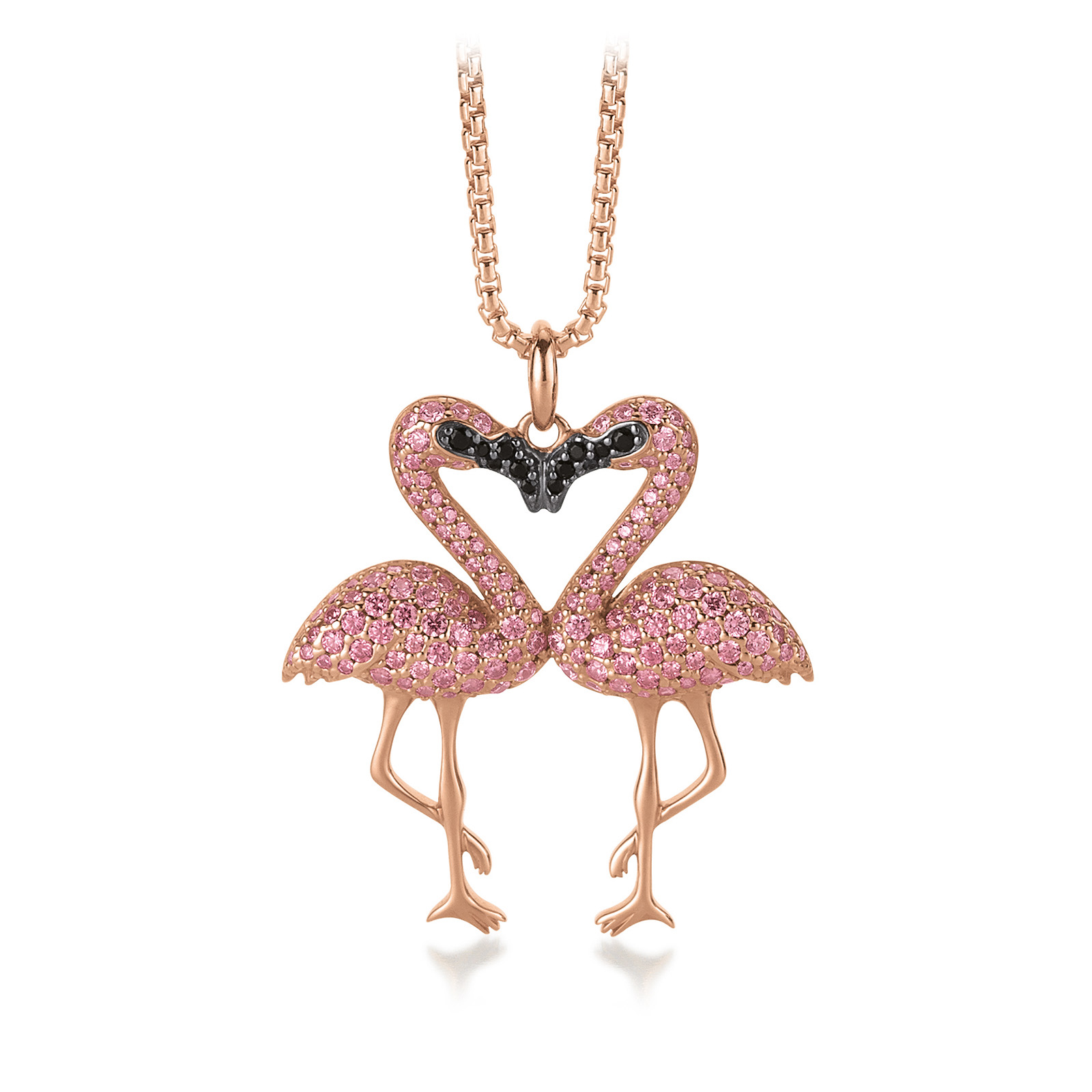 Mestergull Trendy anheng, Flamingo, i rosèforgylt sølv med rosa og sorte cubic zirkonia VIVENTY Anheng