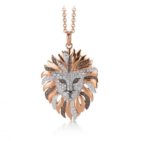 Mestergull Trendy anheng, løve, i rosèforgylt sølv med hvite og karamelfarget cubic zirkonia VIVENTY Anheng