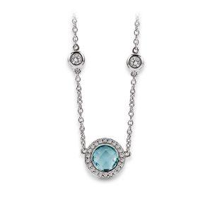 Mestergull Delikat kjede i rhodinert sølv med blå topas og cubic zirkonia VIVENTY Kjede