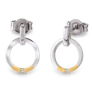 Mestergull Tidløs ørepynt i rhodinert sølv med forgylte detaljer og med diamant VIVENTY Ørepynt