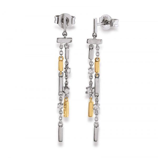 Mestergull Tøff ørepynt i rhodinert sølv med forgylte detaljer og med diamanter VIVENTY Ørepynt