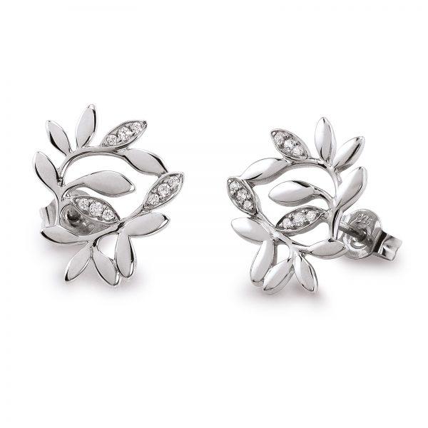 Mestergull Vakker floral ørepynt i rhodinert sølv med cubic zirkonia VIVENTY Ørepynt