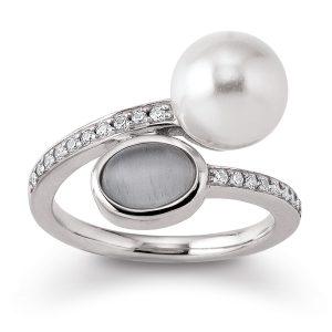 Mestergull Lekker ring i rhodinert sølv med skjellperle, syntetisk månesten og cubic zirkonia VIVENTY Ring