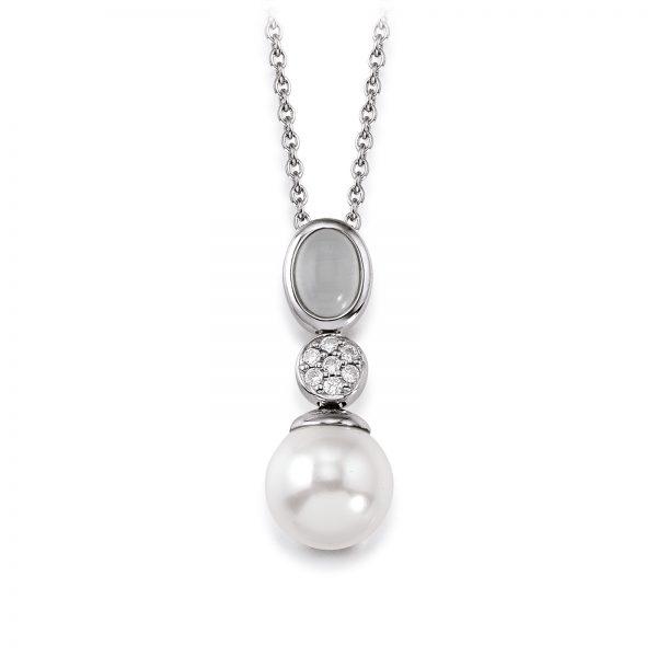 Mestergull Lekkert anheng i rhodinert sølv med skjellperle, syntetisk månesten og cubic zirkonia VIVENTY Anheng