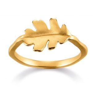 Mestergull Trendy ring i forgylt sølv med blad VIVENTY Ring