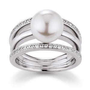 Mestergull Elegant ring i rhodinert sølv med skjellperle og cubic zirkonia VIVENTY Ring