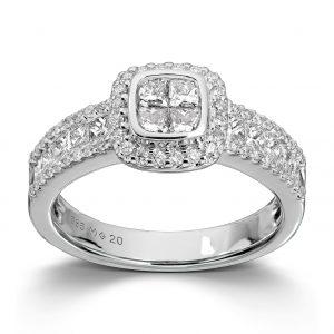 Mestergull Lekker ring i hvitt gull med 70 diamanter totalt 1,23 ct. HSi MG DIAMONDS Ring