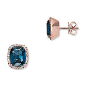 Mestergull Lekker ørepynt i rosègull med blå topas og diamanter MG DIAMONDS Ørepynt