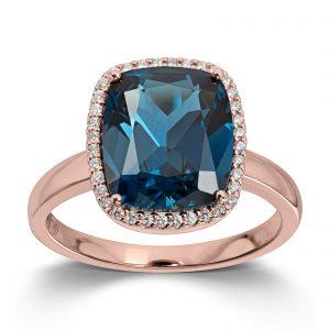 Mestergull Lekker ring i rosègull med London blå topas og diamanter MG DIAMONDS Ring
