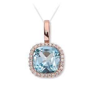 Mestergull Delikat anheng i rosègull med blå topas og diamanter MG DIAMONDS Anheng