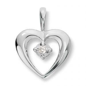 Mestergull Flott hjerteanheng i hvitt gull med diamant MG BASIC Anheng