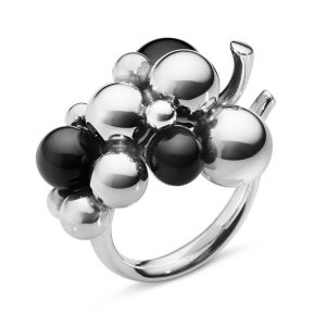 Mestergull Moonlight Grapes Ring i sølv med svart onyx GEORG JENSEN Grape Ring