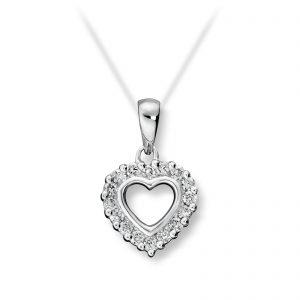 Mestergull Klassisk hjerteanheng i hvitt gull med diamanter MG DIAMONDS Anheng