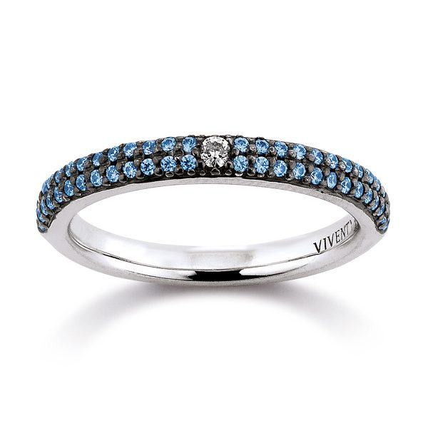 Mestergull Tøff ring i rhodinert sølv med blå og hvit cubic zirkonia VIVENTY Ring
