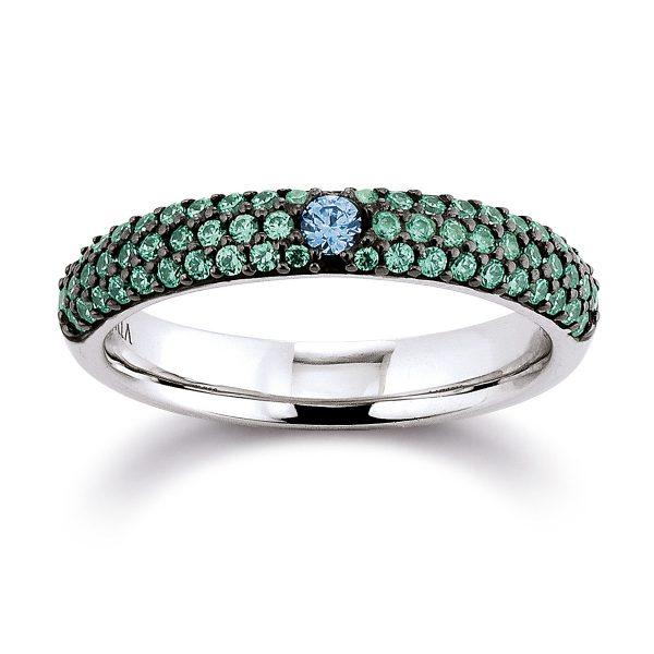 Mestergull Tøff ring i rhodinert sølv med blå og grønn cubic zirkonia VIVENTY Ring