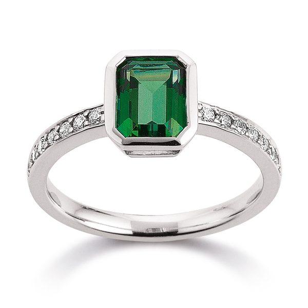 Mestergull Flott ring i rhodinert sølv med grønn topas og cubic zirkonia VIVENTY Ring