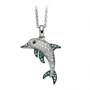 Mestergull Trendy anheng, delfin, i rhodinert sølv med hvit, blå, grønne og sort cubic zirkonia VIVENTY Anheng