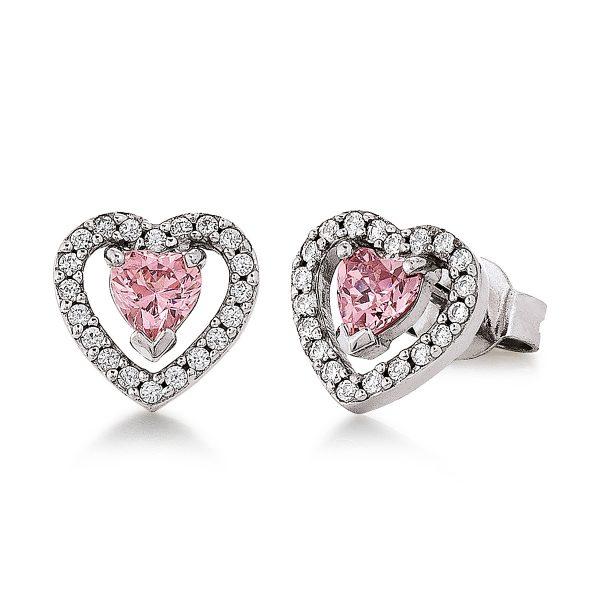 Mestergull Lekker ørepynt i rhodinert sølv med rosa og hvite cubic zirkonia VIVENTY Ørepynt