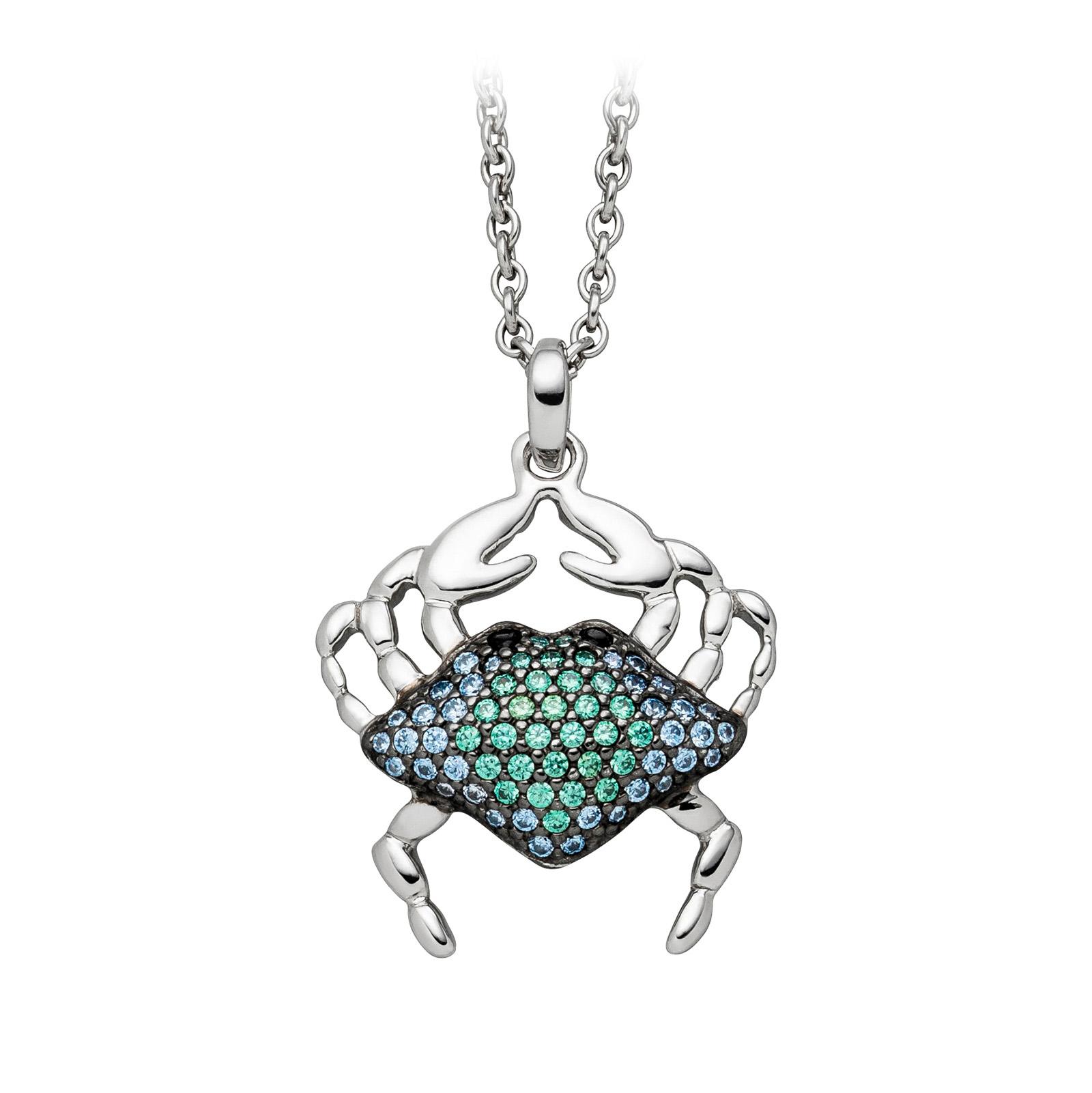 Mestergull Trendy anheng, krabbe, i rhodinert sølv med blå og grønne cubic zirkonia VIVENTY Anheng