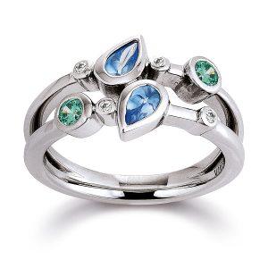 Mestergull Flott ring i rhodinert sølv med hvite, blå og grønne cubic zirkonia VIVENTY Ring