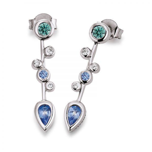 Mestergull Flott ørepynt i rhodinert sølv med hvite, blå og grønne cubic zirkonia VIVENTY Ørepynt