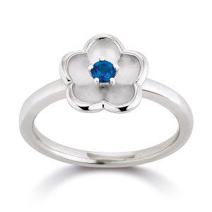 Mestergull Flottt ring, blomst, med kashmirblå topas VIVENTY Ring