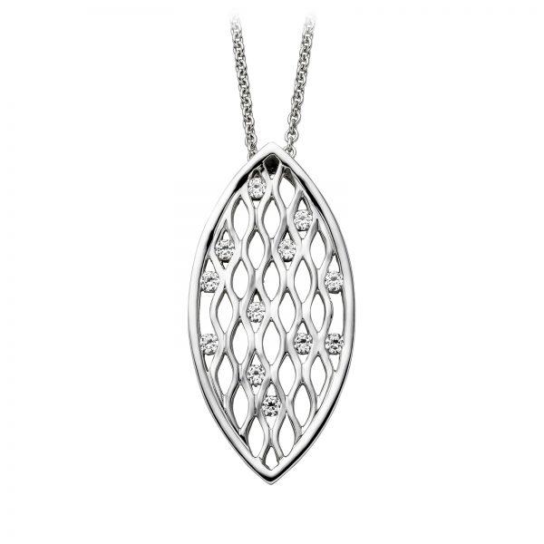 Mestergull Flott floralt anheng i rhodinert sølv med cubic zirkonia VIVENTY Anheng
