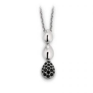 Mestergull Tøft anheng i rhodinert sølv med sorte cubic zirkonia VIVENTY Anheng