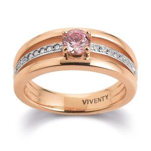 Mestergull Tøff ring i rosèforgylt sølv med rosa og hvite cubic zirkonia VIVENTY Ring