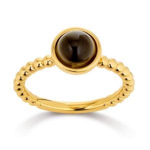 Mestergull Lekker ring i forgylt sølv med røkkvarts VIVENTY Ring
