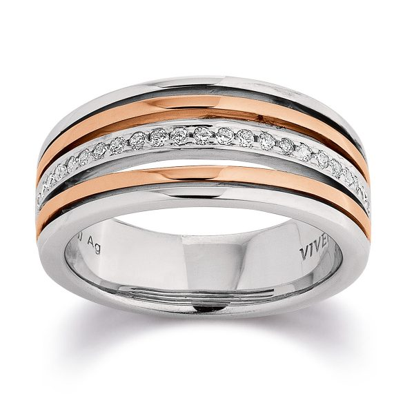Mestergull Stilfull ring i rhodinert og rosèforgylt sølv med cubic zirkonia VIVENTY Ring