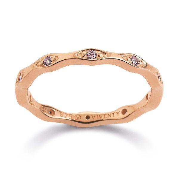 Mestergull Elegant ring i rosèforgylt sølv med rosa cubic zirkonia - fin å kombinere med ringer i rodinert sølv og forgylt sølv VIVENTY Ring