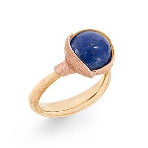 Mestergull Ring Lotus str. 2 i 18 kt. Gult gull med Lapis Lazuli og 2 blad i rosé gull LYNGGAARD Lotus Ring