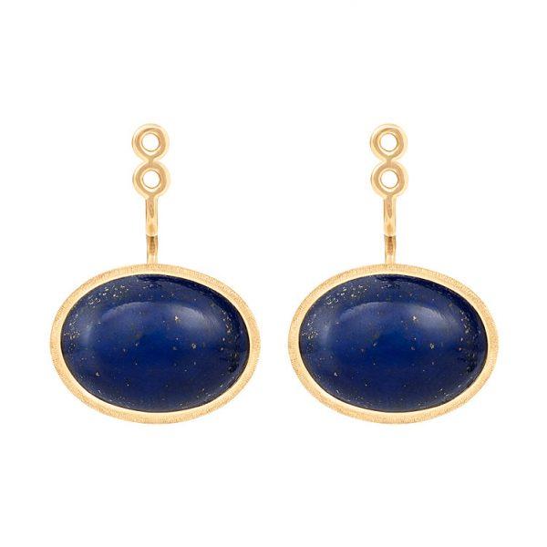 Mestergull Vedheng par til Lotus ørepynt i 18 kt. Gult gull med lapis lazuli. LYNGGAARD Lotus Ørepynt