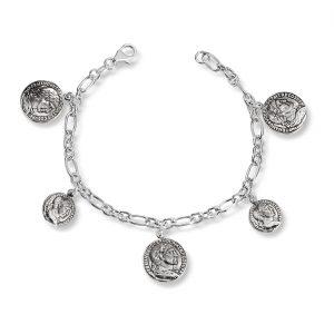 Mestergull Trendy armbånd med flere mynt i oksidert sølv GID Armbånd