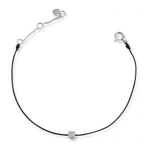 Mestergull Tøft armbånd i hvitt gull og sort snor med diamant MG DIAMONDS Armbånd