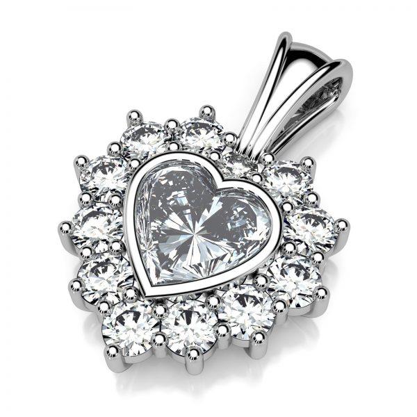 Mestergull Anheng i hvitt gull med kundens diamanter. En hjerteslepet diamant og 12 mindre diamanter. Anhenget er utført i hvitt gull 585 med fast dobbelhempe for god stabilitet DESIGN STUDIO Spesialdesign Anheng