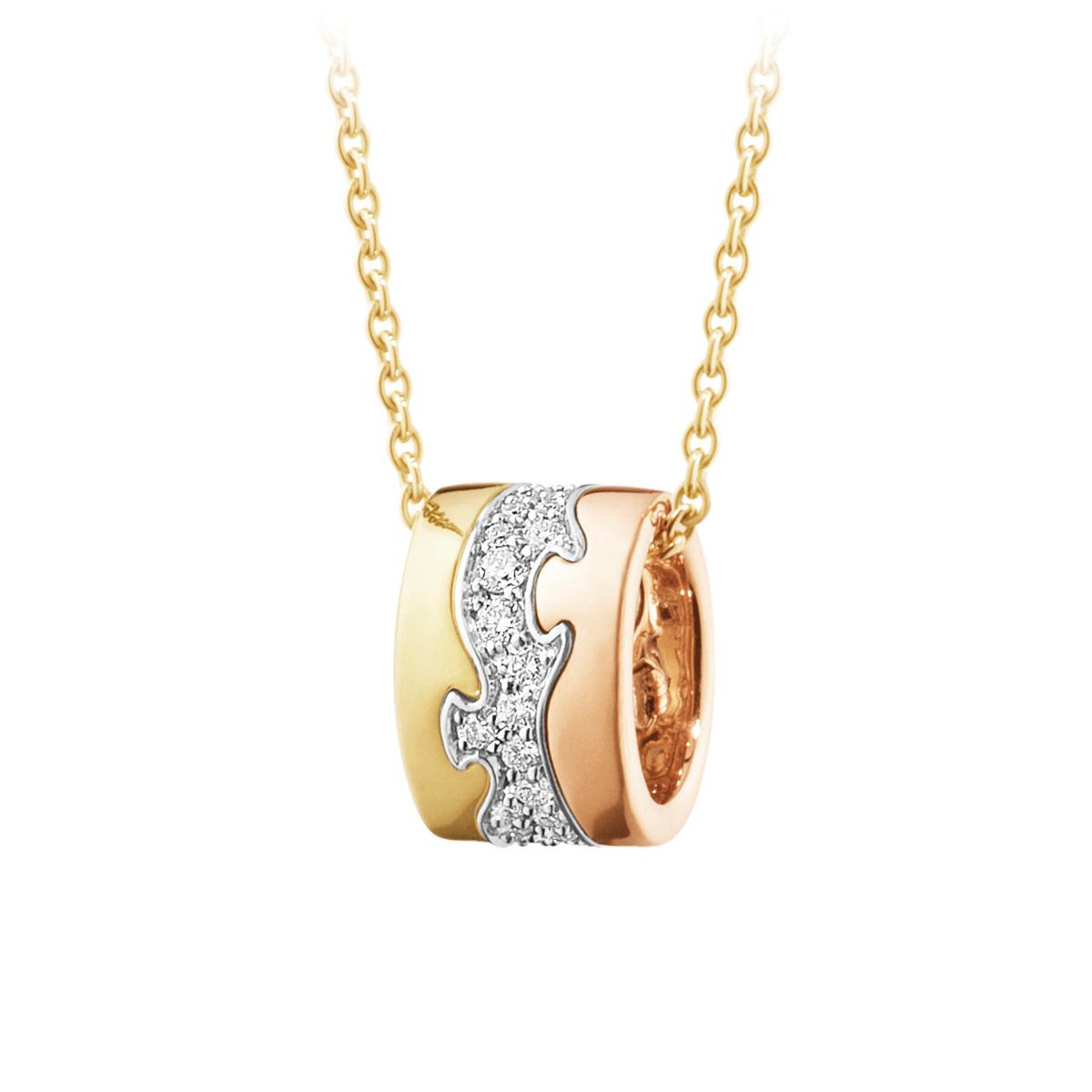 Mestergull Fusion anheng i 18kt. gult gull, rosegull og hvitt gull med diamanter GEORG JENSEN Fusion Anheng