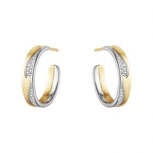 Mestergull Fusion store øreringer i gult gull og hvitt gull med diamanter GEORG JENSEN Fusion Ørepynt