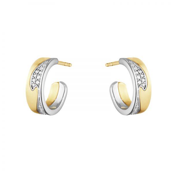 Mestergull Fusion små øreringer i gult gull og hvitt gull med diamanter GEORG JENSEN Fusion Ørepynt