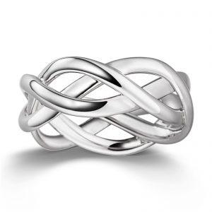 Mestergull Lekker flettering i rhodinert sølv VIVENTY Ring