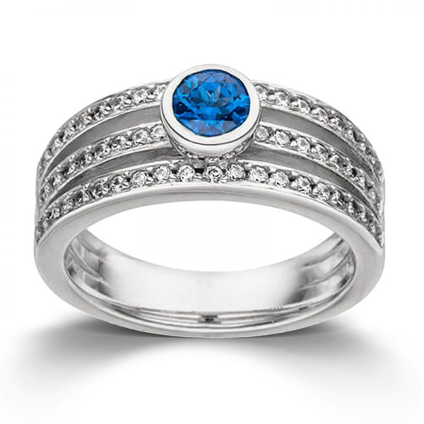 Mestergull Elegant ring i rhodinert sølv med kashmirblå topas og cubic zirkonia VIVENTY Ring