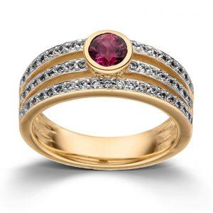 Mestergull Elegant ring i rosèforgylt sølv med rød topas og cubic zirkonia VIVENTY Ring