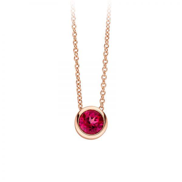 Mestergull Elegant kjede i rosèforgylt sølv med rød topas VIVENTY Kjede