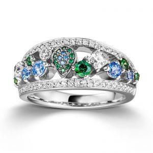 Mestergull Flott ring i rhodinert sølv med cubic zirkonia i flere farger VIVENTY Ring