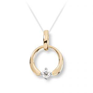Mestergull Flott anheng i gult gull med diamant MESTERGULL Anheng