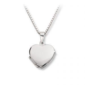 Mestergull Søt hjertemedaljong i rhodinert sølv MESTERGULL Anheng