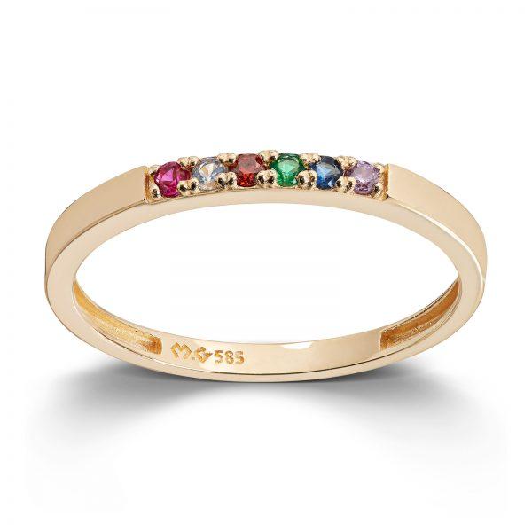 Mestergull Trendy ring i gult gull med cubic zirkonia i regnbuens farger MESTERGULL Ring