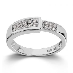 Mestergull Flott ring i rhodinert sølv med cubic zirkonia MESTERGULL Ring