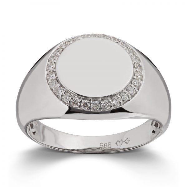Mestergull Trendy signet ring i hvitt gull med diamanter MG DIAMONDS Ring